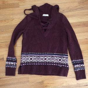 Hollister Burgundy Fair Isle Sweater